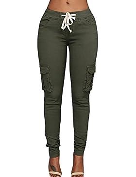Mujer Pantalones Lápiz - Color Sólido Cintura Elástico Leggings con Cordón Moda Cintura Media Bolsillos Casual...