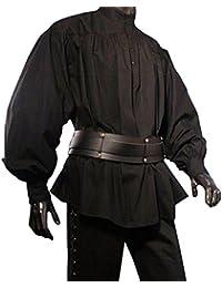Piratenhemd mit Stehkragen Gothic Mittelalter schwarz 119