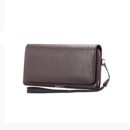 Gukas Echt Premium Quertasche Clip Universal Belt Handy Halfter Leder Hülle Tasche Case Für Crosscall Trekker-M1 / Cat S40 / Cyrus CS24 / Doro 824 825 NOMU S30 Mini/NOMU S10 (Braun)