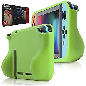 Orzly Comfort Grip Case für Nintendo Switch – Schutzhülle für den Einsatz auf der Nintendo Switch Console im Handheld Gamepad-Modus mit integrierten Komfort gepolsterten Handgriffen – GRÜN