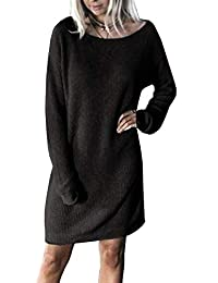 Yidarton Damen Pullover Kleid Winter Warm Knitted Strickkleid Langarm  Rundhals Casual Sweater Elegant Knielang b5ebfe6d59