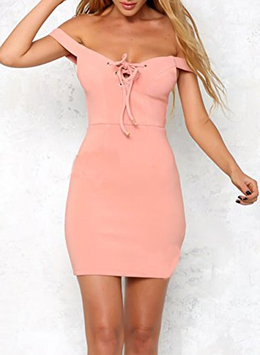 Azbro Women's off Shoulder Lace up Solid Bodycon Mini Club Dress Pink