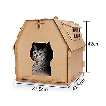 Roblue Maison pour Chat Chaton en Papier Ondulé Résistant à Attraper Jouet Nid pour Chaton 41.5x37.5x42cm