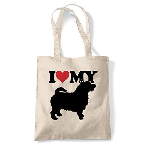 I Love My Cairn Terrier Tragetasche Hund Geschenk Pelz Baby Geliebten Eigentümer Herren Best Friend Wiederverwendbar Einkaufen Baumwolle Leinen Lang Griff Natürlich Einkaufstasche Umweltfreundliche -