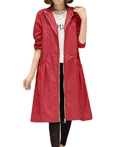 CuteRose Women's Oversized Fashion Hooded Tops Outwear Pockets Trench Coat Red XL