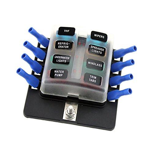 MagiDeal Auto Boot 6V / 12V / 24V 8-Wege-Sicherungskastenhalter Und Sicherung Mit Rotem LED-Licht-Kit (Amp Volt 100)