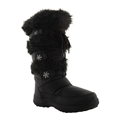 MyShoeStore New Ladies Women Girls Flat Snow Boots Fur Lined Winter RAIN HIGH Calf SKI Shoes