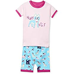 Hatley Girl's Organic Cotton Short Sleeve Printed Pyjama Sets Ruff Night - Playful Pooches, 5 Years