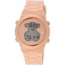 Reloj digital D-Bear de acero IP rosado con correa de Silicona nude