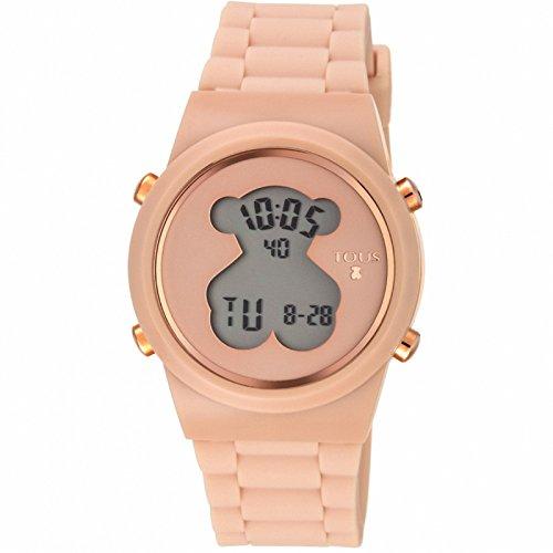 Reloj digital D-Bear de acero IP dorado con correa de Silicona nude