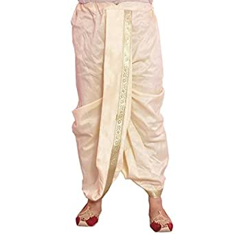 Larwa Cream Dupion Lace Embroidered Dhoti for Men
