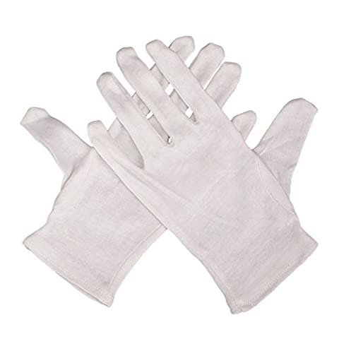 12 Pair White Gloves, Soft Cotton, Reusable and Absorb Water, Sweat, Oil/ Easy On and Off / Good for Quality Inspection, Traffic Command, Factory Operations,Housekeeping (24