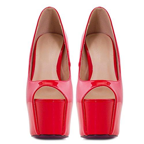 Toocool - Scarpe donna decollete decolt? lucide vernice plateau tacco tacchi alti D913 Rosso