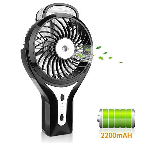 PEYOU Mini Ventilador de Mano, Ventilador de Nebulización, Ventilador Portátil de Agua, 2200mAh Ventilador USB Recargable, 3 Velocidad y 2 Modos de Rociado para Viajes,Oficina y Hogar