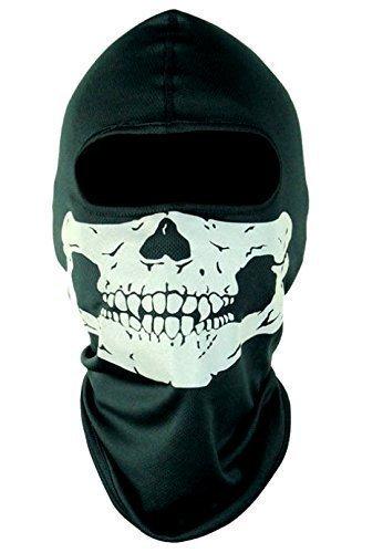 GATOR-Maschera per viso intero, motivo teschio terrificante Warrior, Maschera da teschio, scheletro moto Biker-Maschera da Paintball, Sciarpa, taglia unica, motivo: Halloween Fancy Dress Costume