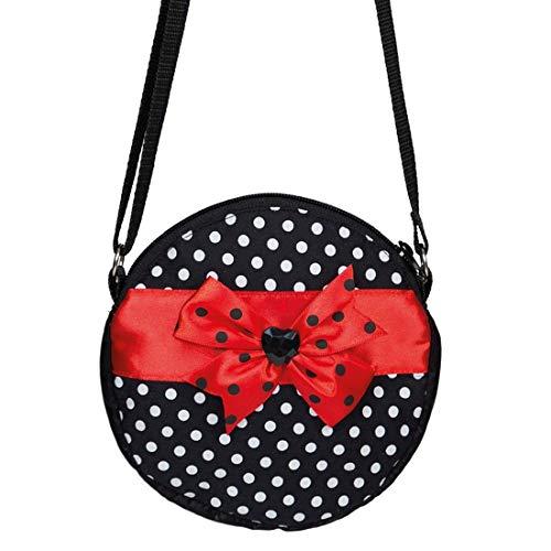 Amakando Stylische Rockabilly Umhänge-Tasche mit Polka Dots / Schwarz-Rot 18x18cm / 50er Jahre Damentasche mit Punkten / Perfekt geeignet zu Fasching & Karneval