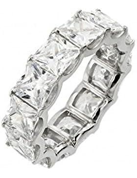 Ring Rhodium beschichtet Sterling Silber Eternity Quadrat klare Zirkonia Ring