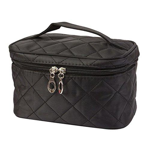 Angelof Femmes Zipper Portable Toiletry de Voyage maquillage sac cosmétique sac à main Holder (Noir)