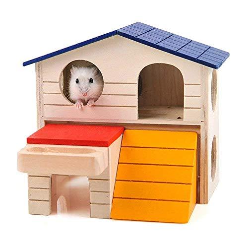 Aeromdale Zwerghamsterhaus, aus Holz, für Kleintiere, Mäuse, Ratte, Versteck für Hamster, Deluxe, zweilagig, zum Kauen für kleine Haustiere, zum Schlafen und Trainieren, Spielspielzeug Geschenk -