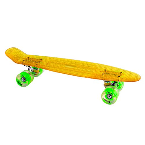 Unibest Skateboard Mini Cruiser Rollbrett Retro-Board transparent 57x15cm mit LED Leuchtrollen - gelb