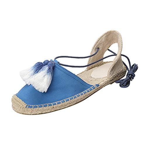Mitlfuny Damen Sommer Sandalen Bohemian Flach Sandaletten Sommer Strand Schuhe,Atmungsaktive Bequeme Damen Peep Hanf Riemchen böhmischen Sandalen Schuhe -