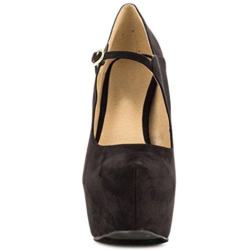Kolnoo Damen 15cm Absatz-Jane-Schuhe einfache tägliche Parteibüro Abend Pumpen Black