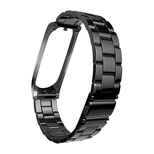 YBWZH Mode Edelstahl handschlaufe Metall Armband für xiaomi mi Band 3 Armband Premium Uhrenarmband Edelstahl Metall Uhrenarmband Ersatz Uhren-Armband(Schwarz)