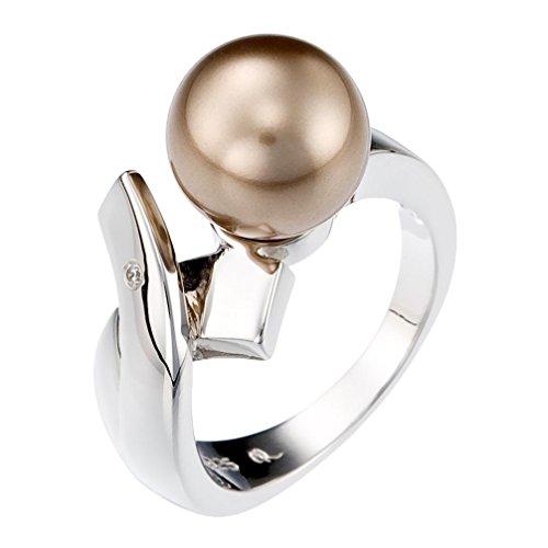 Orphelia ZR-3711/50 Anello da donna in argento 925rodiato, con zirconi bianchi dal taglio rotondo e perla sintetica color champagne, misura 50 (15,9), argento, 20, colore: champagner, cod. ZR-3711/60