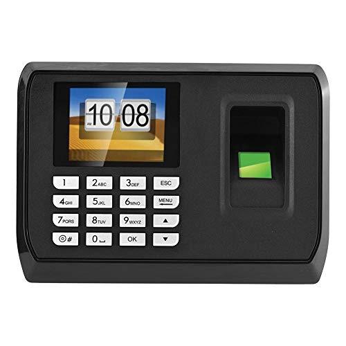ASHATA Fingerabdruck Zeiterfassung, 1.8 Zoll LCD Fingerprint Zeit Uhr Recorder,Ergonomisch USB Biometrische Fingerabdruck Mitarbeiter Anwesenheits Maschine Schwarz(EU)