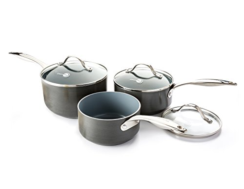 Greenpan Venice Ceramic Non-Stick Saucepan Set, Hard-Anodized, 3 pieces - black