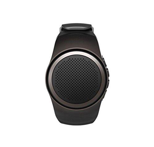 Preisvergleich Produktbild Leydee Smart Sport Uhr Lautsprecher MP3 Musik Wristband Fernbedienung Kamera Steuerung Mini Bluetooth Outdoor Support TF Karte FM Audio Radio Freisprechanlagen Subwooferwith Selbstauslöser Anti-Lost Alarm ,  black