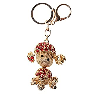 A-szcxtop Bling Rhinestone Exquisite Cute Refined Taste Expensive Dog Metal Keychain Keyring (Red)
