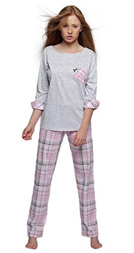 Sensis - Ensemble de pyjama - À Carreaux - Manches Longues - Femme Gris/rose