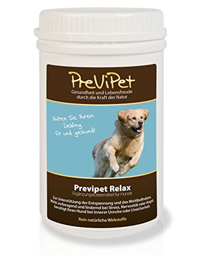 Previpet Relax (Pulver) für Hunde 450g - zur Unterstützung der Entspannung und des Wohlbefindens. Wirkt vorbeugend und lindernd bei Stress, Nervosität oder Angst. Beruhigt Ihren Hund bei innerer Unruhe oder Unsicherheit.