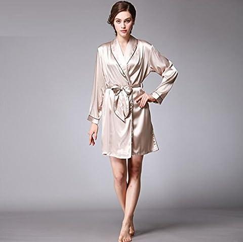 GY&H Luxe nouvelle soie pyjamas féminine robes sexy manches longues peignoirs lisses et confortables peignoir