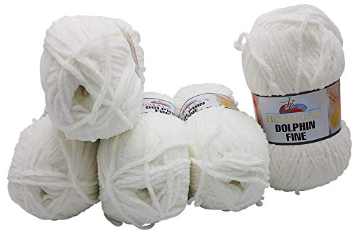 Dolphin fine 5 x 100 Gramm Himalaya Strickwolle, Babywolle, 500 Gramm Wolle Super Bulky (weiß 80501) - Himalaya-garn