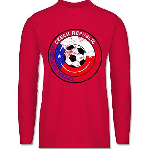 Shirtracer Fußball - Czech Republic Kreis & Fußball Vintage - Herren Langarmshirt Rot