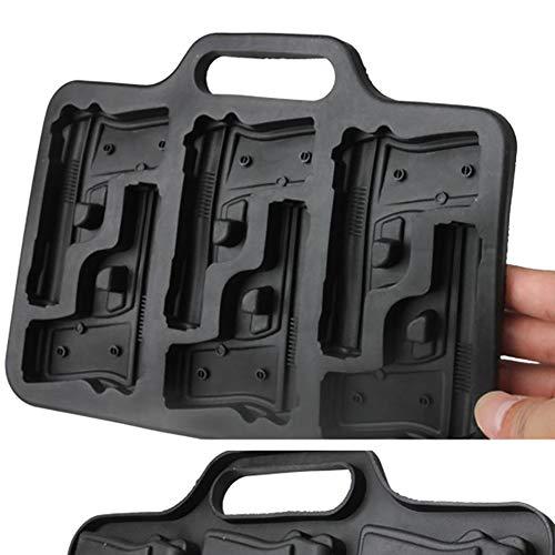 (2 Stück Eiswürfelform Gun 3D Pistole Eiswürfelbereiter - Contever Eiswürfelbehälter Eiswuerfelbehaelter mit Deckel Perfekt für Whisky Cocktails Saft Bourbon Vatertag Geschenk)