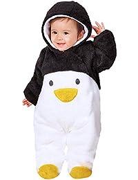Chickwin Bebé Recién Nacido franela Mameluco Invierno Ropa Una Pieza Pelele Pijamas Niños Niñas Monos Caricatura Trajes (80, Pingüino negro)