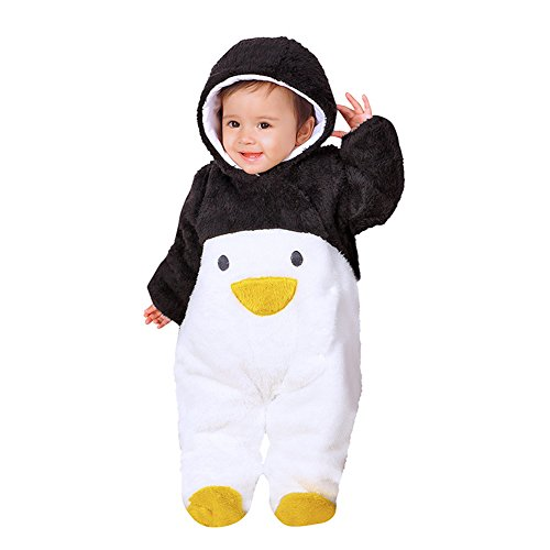 Chickwin Infant Tier Jumpsuit Baby unisex Krabbeln Pyjamas Flanell mit Kapuze Strampler Mädchen Schneeanzug Jumpsuit (80, Schwarz Pinguin)