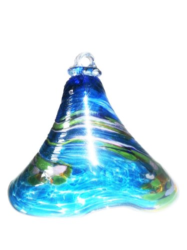 Glocke zum hängen farbige Glasglocke türkis bunt gelüstert mundgeblasene Kristallglas Glocke Höhe ca. 10 cm Oberstdorfer Glashütte