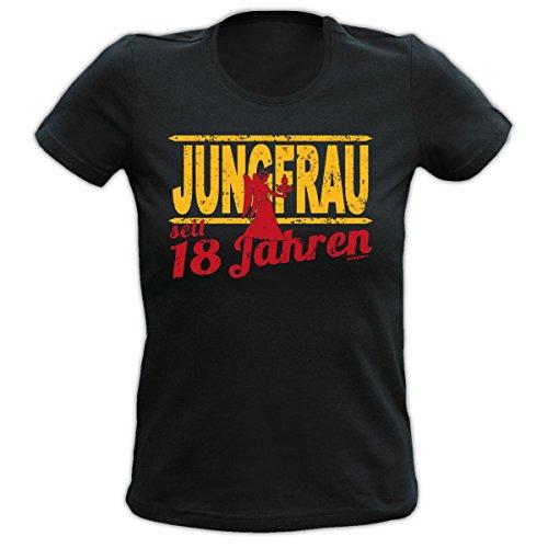 Lustiges Damen T-Shirt zum 18.Geburtstag : 18 Jahre Jungfrau Sternzeichen T-Shirt Geburtstag --Goodman Design® Schwarz