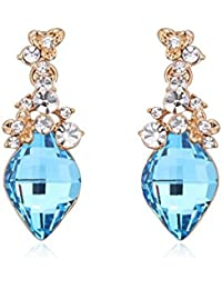 NEVI Stylish Swarovski Crystals 18K Gold Plated Danglers Earrings Jewellery For Women And Girls