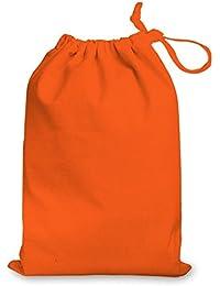 Bolsa grande con cordón, 100% algodón, ideal como bolsa para regalos, para ir al gimnasio, a la piscina o para guardar zapatos, tamaño mediano, de 25 x 35 cm, color naranja