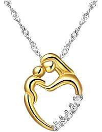 Chaomingzhen Vergoldete 925 Sterling Silber Zirkonia Mutter und Kind Anhänger Halskette Damen Kette