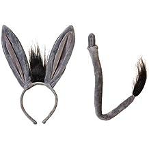 Juego de diadema y cola para niñas, diseño de orejas de burro, para fiestas