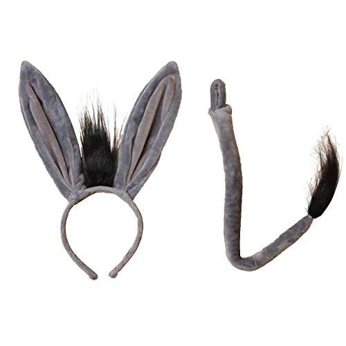 Haarreif und Schwanz für Mädchen, Esel-Ohren, für Partys und Junggesellinnenabschied