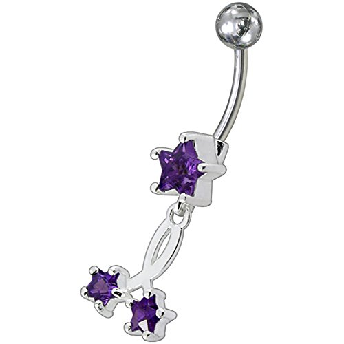 Barres de Pierre en cristal tendance Design étoile Triple 925 en argent Sterling avec le ventre en acier inoxydable Purple