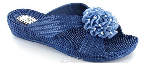 Mesdames Plage Sandales Mule Cale Diamante Fleur Tongs piscine Bleu - Bleu marine