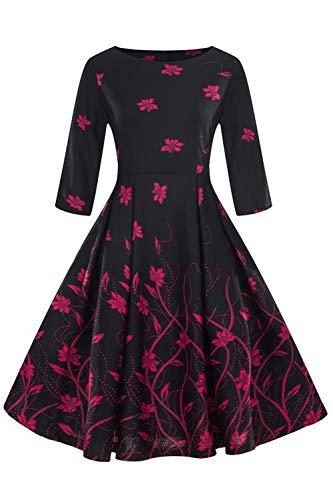 Axoe Damen Elegante Rockabilly Kleid 50er Jahre mit Blumenmuster Schwarz Grosse Grösse Gr.50